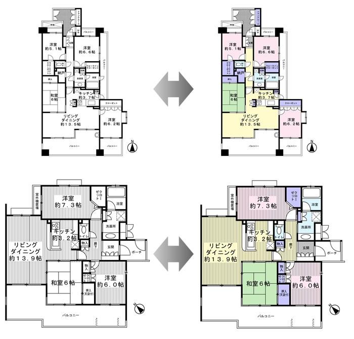 画像:居住用間取りサンプル、マンション例